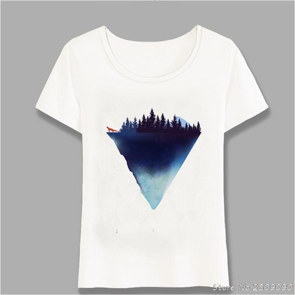2019 New Summer Beautiful Mountain Forest Tree And Fox Art T-Shirt Cute Women t-shirt Novelty Tops Ladies Casual Tees Harajuku