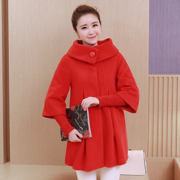7 Colors 2018 Autumn Winter Women Overcoat Casual Loose Wool Coat Knitted Sleeve Turtleneck Cape Shawl