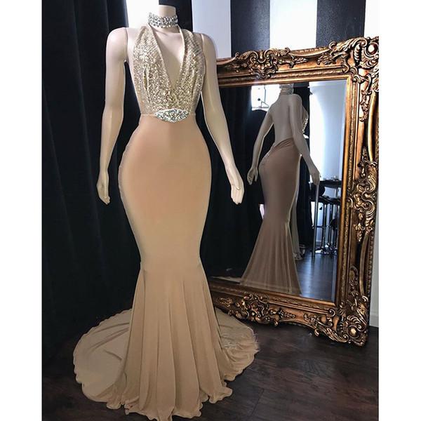 Elegant Champagne Halter Backless Sparkly Sequins Prom Dresses 2019 Custom Size Party Dresses Evening Dresses Vestidos