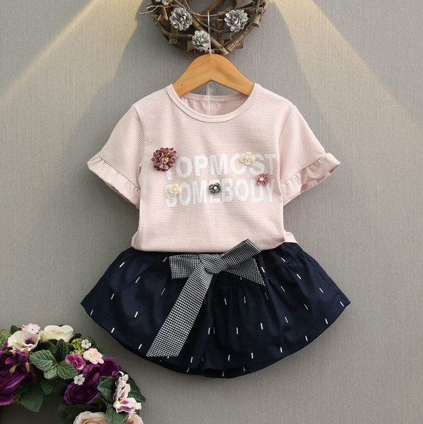 6 styles baby girls summer outfits children chiffon set with pearl flower top T-shirt skirts 2pcs suit kids boutiques
