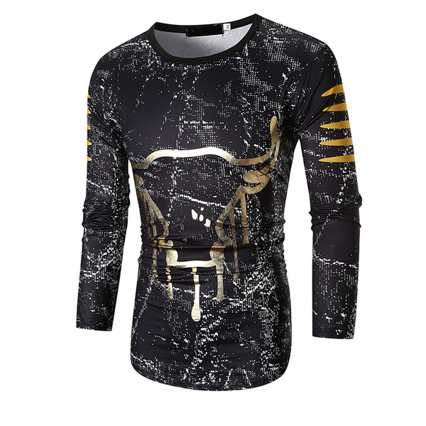 2019 High Quality new casual fashion Sleeve O-Neck t shirt men Regular Cotton Print ink ox head arc hem long sleeve T-shirt