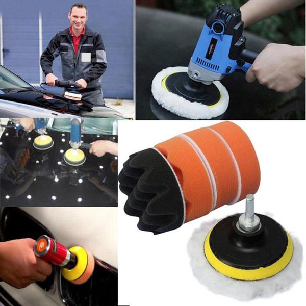 7pcs / ondas Conjunto esponjas para pulir pastillas de rosca auto del coche Kit de pulido de la almohadilla pulidora para el coche + sembradora adaptador M10 Poder acceder a las herramientas
