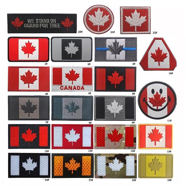 19VP-18 Full Canadian Flag taktische Patches mit Stick Canada FLAG Reflektierendes Licht Armee Abzeichen Moral Patches für Hut Tasche