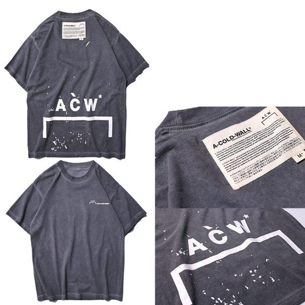 2019 NUEVO Top A-COLD-WALL ACW Carta en tinta de color salpicadura Camiseta Hight Quality Hip Hop Casual Japan Skateboard ACW A-COLD-WALL Camiseta de algodón