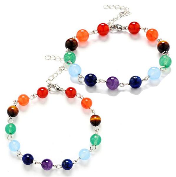 Nuovo Yoga 7 Bracciali Chakra Healing Beads Balance Bracciale 7 Chakra agata Tiger Eyes cristallo Amethyst pietra naturale