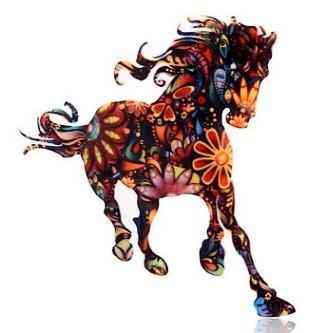 COLORFUL ACRYLIC RUNNING HORSE BROOCH FASHION BADGE COLLAR PIN SUIT CLOTHES SWEATER BROOCHES CHEST PIN BREASTPIN JESERY OVERCOAT JEWELRY