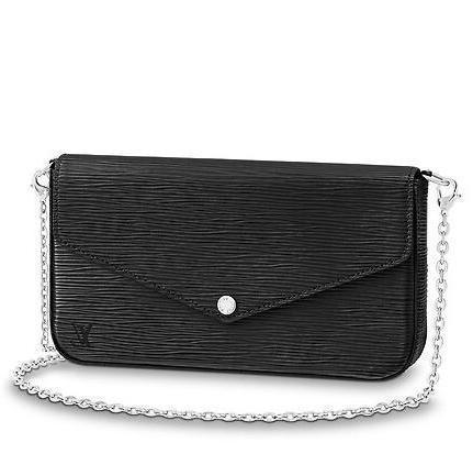 M62648 POCHETTE FÉLICIE Water ripple black Real Caviar Lambskin Chain Flap Bag LONG CHAIN WALLETS KEY CARD HOLDERS PURSE CLUTCHES EVENING