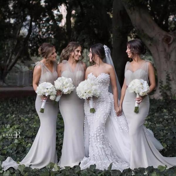 Abiti da damigella d'onore sirena elegante sweether sheer tulle lungo abito da sposa formale da sposa per abiti da damigella d'onore