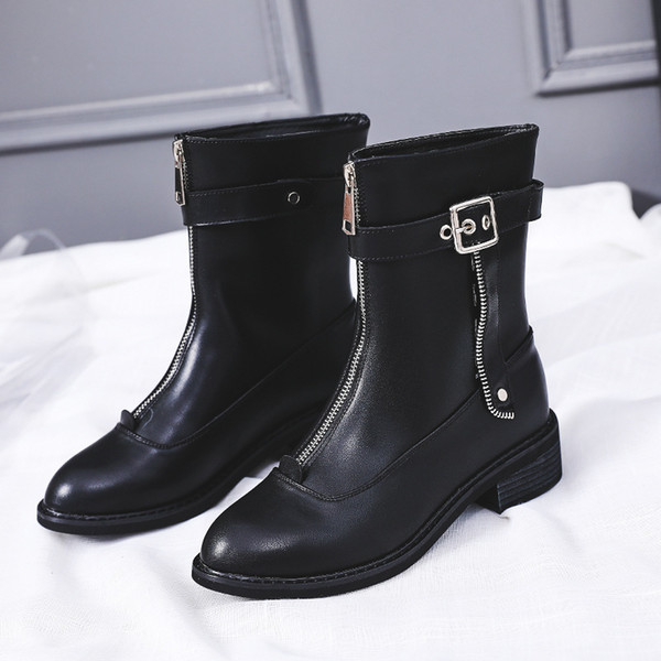 2018 White Shoes Women Fashion Brand Martin Boots Lady chaussure Autumn Female Leisure footware Front Zipper Ankle Boot