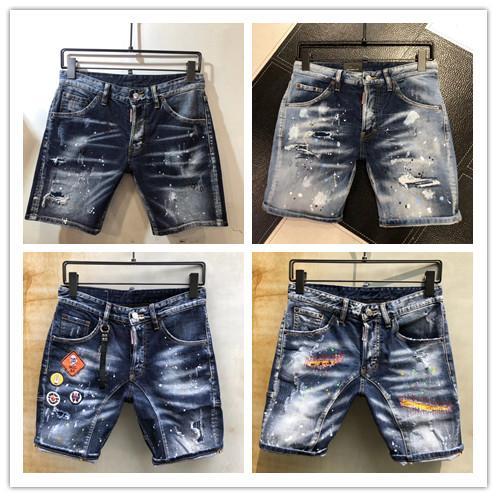 Fashion Summer New Style #5129 D2 Denim Jean Men's Motorcycle Streetwear Holes Denim Shorts Pants Holes Button Short Men Slim Shorts Jeans
