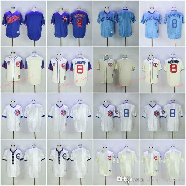 official photos b4d87 1894b 2019 Hot Cubs Blank/8# DAWSON White Blue Baseball Throwback Jerseys Shirt  Stitched Top Quality From Cheap_top_sport, $26.39 | DHgate.Com
