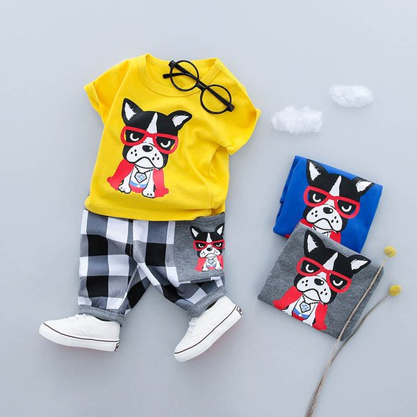 2019 Summer Boys Clothing Sets Baby boy cartoon dog and tiger Fashion cotton short-sleeved T-shirt+Pants suit
