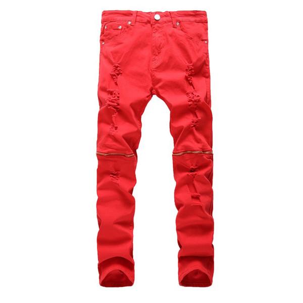 Erkek Yırtık Sıska Sıkıntılı Tahrip Düz Fit Fermuar Kot Delikli Moda rahat streç kot pantolon