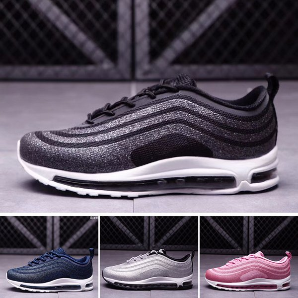 Compre Nike Air Max 97 La Mejor Calidad Para Niños 97 OG Tripel Blanco Metalizado Oro Plata Bullet Discount Child 97 Premium Big Boys Girls Shoes