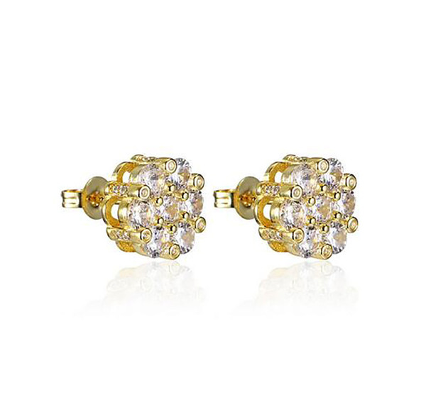 Big Cluster 3D Gold CZ Bling Bling Earrings Earring 1 Pair Micro Pave Cubic Zircon Earring Men Women Fashion Jewelry for gift 11x11mm,3.1g