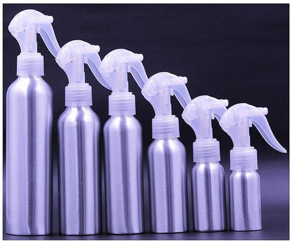 Ücretsiz kargo Tek kullanımlık alüminyum tetik sprey şişesi ile beyaz ince sis tetik kap, 30 ml 50 ml 100 ml gümüş alüminyum saç spreyi şişesi