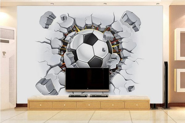 Grosshandel Benutzerdefinierte 3d Foto Tapete Baby Kinderzimmer Vlies Wandbild Tv Backdground Wandtapete Fussball Wand Ziegel Foto Home Decoration Von
