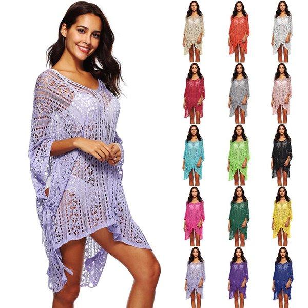 Copertura di balneazione donne fino Bikini Swimsuit Swimwear Crochet Smock occultamento della spiaggia UpLadies Fiore manica ritaglio Dress Skirt