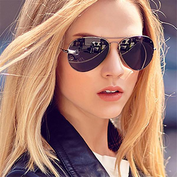 CURTAIN Classic Aviation Sunglasses Women Men Driving Eyewear Metal Frame Male Female Mirrors Coating Retro Sun Glasses UV400