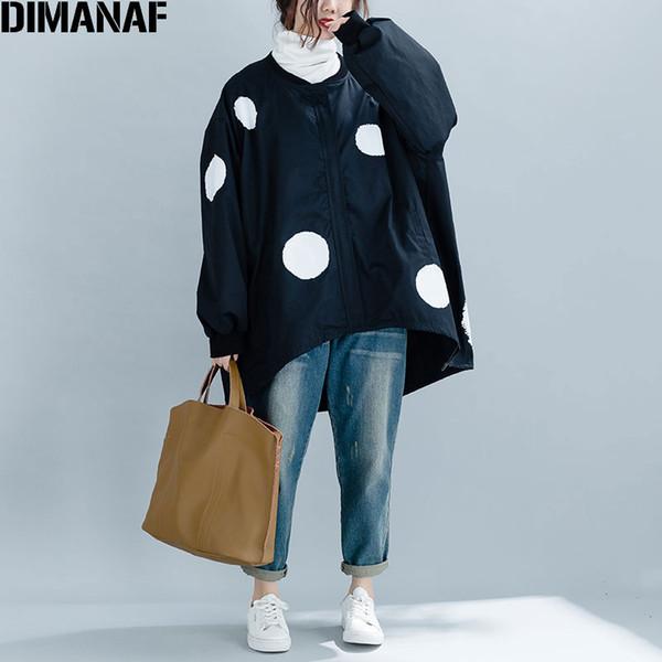 DIMANAF 2019 New Autumn Winter Women Polka Dot Black Jacket Coat Big Sizes Zipper O-Neck Female Clothes Loose Oversized Cardigan