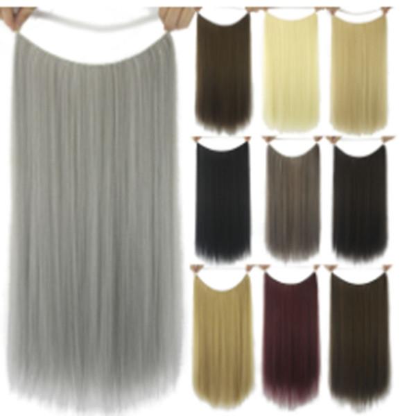 Chemische Faser-Fisch-Linie Haar-Vorhang-Perücken-Stück-langes gerades Haar keine Spur-Haar-Stück-Seide der hohen Temperatur nette Haarnadel-Art- und Weisefarbe jooy