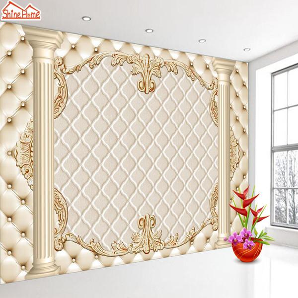 ShineHome-Large Custom European Soft Roll Pillar 3D Wall Paper 3d Modern Living Room Wall Murals Wahable Wallpaper Desktop