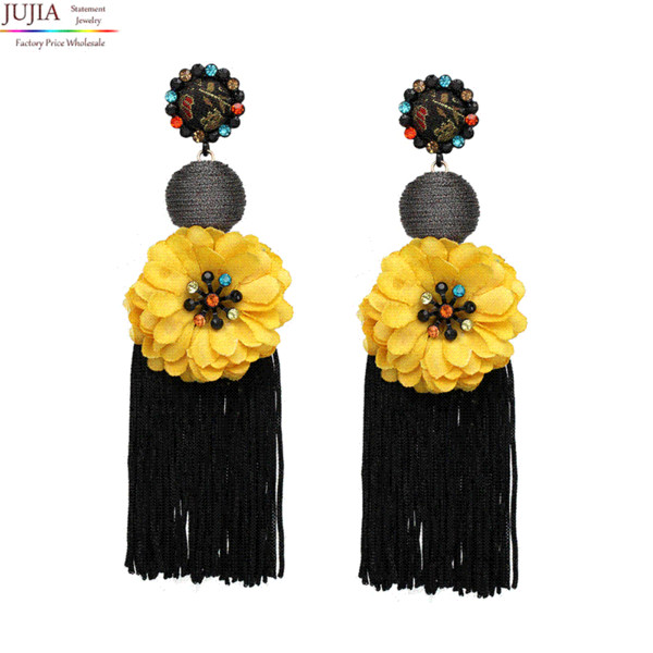 JUJIA 19 colors Ethnic Bohemi Tassel Drop Dangle Statement Earrings for Women Antique flower Fringing earrings