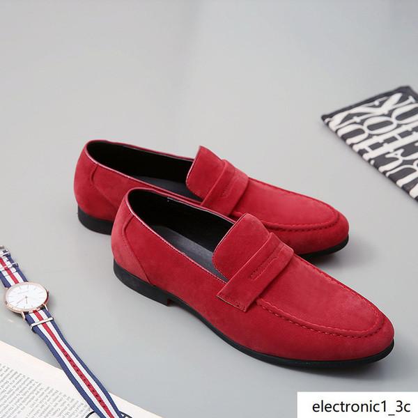 Süet Deri erkekler eğlence elbise ayakkabı markası adam tembel fayları Kayma-on loafer'lar Zapatos Hombre 38-48 kırmızı