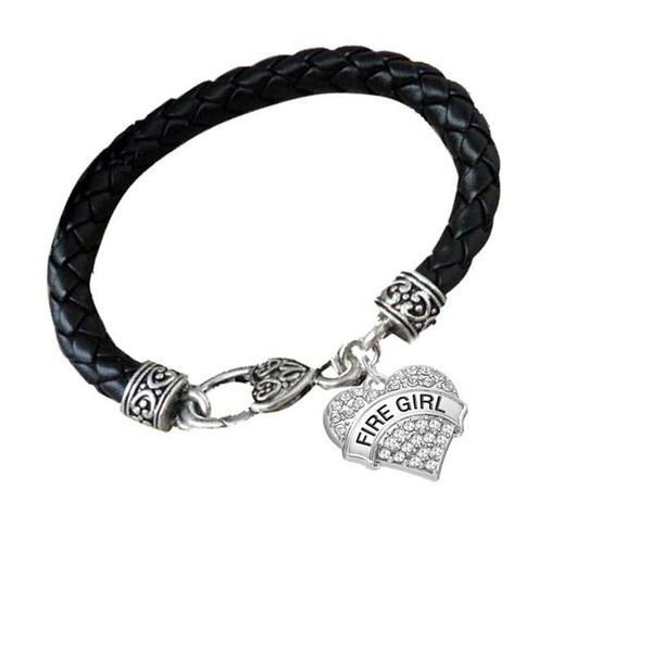 BT10 Heart shaped Rhodium Plated Crystal Pendant Engrave Letter FIRE GIRL Pendant Necklaces & Bracelet & Earrings & Pendant Charms