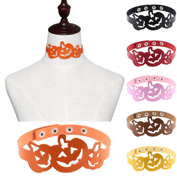 New Halloween Jewelry Women PU Leather Necklace Men Pumpkin Collar Choker European and American Style Many Color Punk Drop Shipping