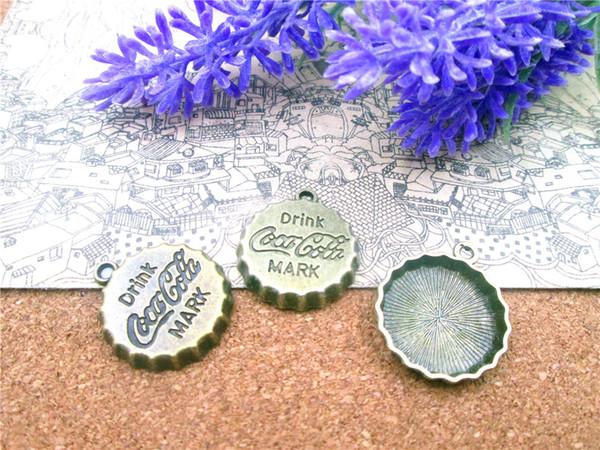 15pcs-- 18mm antique bronze drink mark bottle cap Charms DIY Charms Pendants