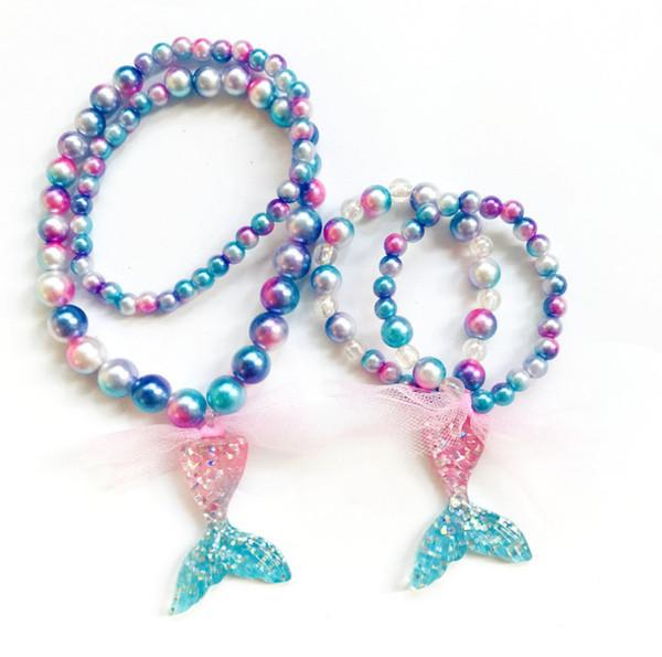 Çocuklar degrade inciler kolye shining kızlar mermaid kolye kolye + dantel Yaylar bilezik 2 adet setleri çocuklar takı çocuk aksesuar F7380