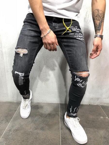 2019 gym New fashion trend men s hole in hole jeans European and American elastic jeans new men s trousers
