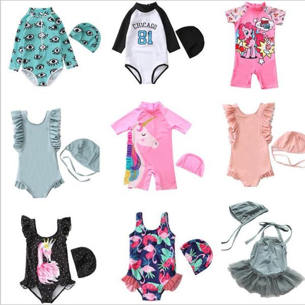 1734b46de0246 Girls Swimwear Baby Unicorn Bathing Suits Kids Flamingo Dinosaur Floral Stripe  Print One Pieces with Cap