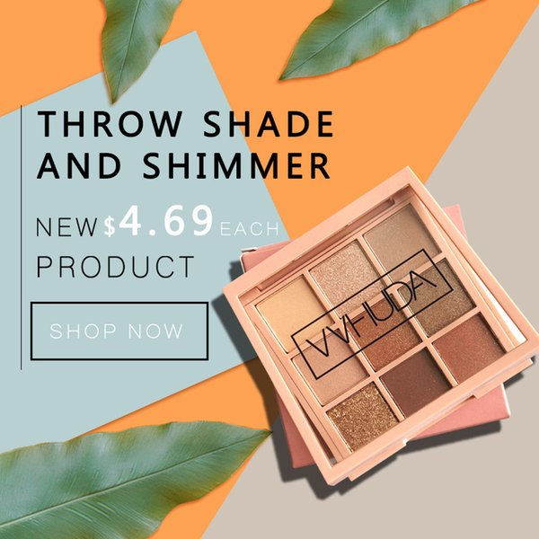 VVHUDA Eyeshadow Palette Makeup Cosmetics Diamond Glitter Metallic 9 Color Nude Creamy Pigmented Professional Mini Shadow Kit