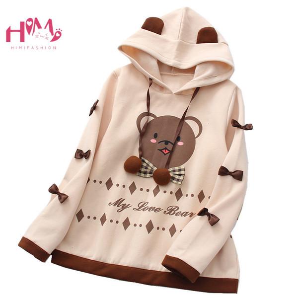 Japanese Women Kawaii Ear Hoodies Fleece Lovely Bear Plaid Bow Pullover Lolita Mori Soft Girls Long Sleeve Round Neck Sweatshirt