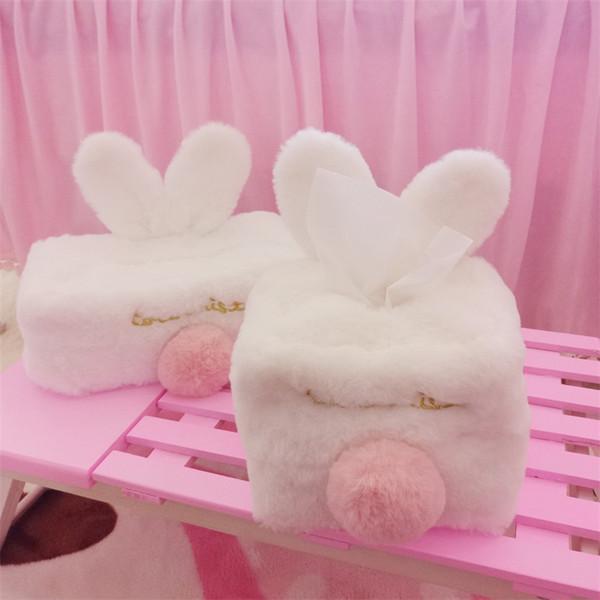Carino rosa coniglio scatola di tessuto peloso regalo di giorno di Pasqua morbido peluche tovagliolo dispenser contenitore Home Decor 16 5za Ww