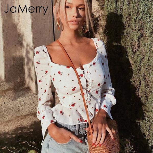 Marque Élégant Blanc Blouse Femmes Chemises 2019 Vintage Fleur Imprimé Blouse Tops D'été Casual Ruffles Court Tops Blusas Femme
