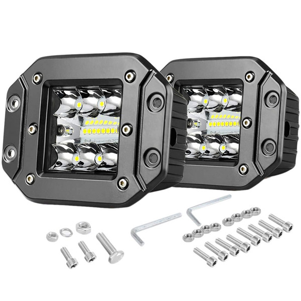 flush mount led pods 2pcs 5 inch led strip 42w three rows 27000lm upgrade chipset floodlight combination beam for truck suv mari