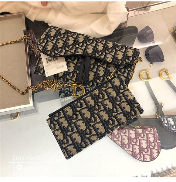 top popular 2019 Brand Sale CChristian Saddle Woc Old Flower Chain Wallet Blue New Color Shoulder Diagonal Hand Bag 2019