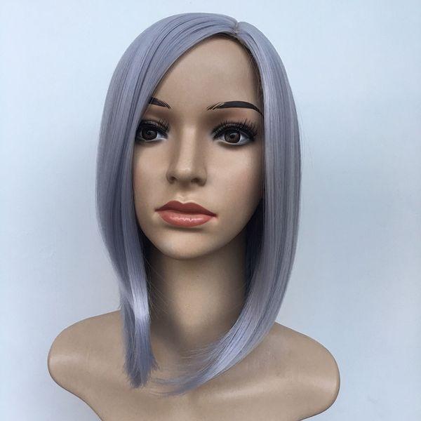 2019 moda mujer gradiente de pelo corto y recto marrón gris Cosplay Party para Blac mujeres peluca resistente al calor del pelo sintético