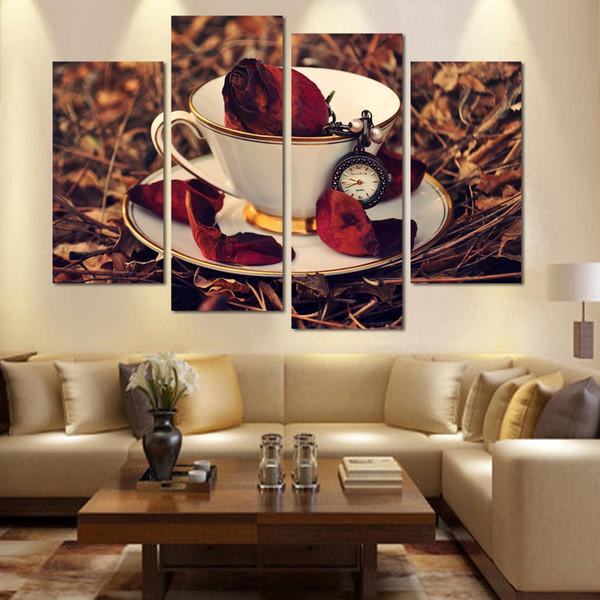 Pintura Da Lona Da Cozinha sem moldura Flor De Café Nostálgico 4 Peça Da Arte Da Parede Moderna Cuadros Decor Wall Pictures Para Sala de estar
