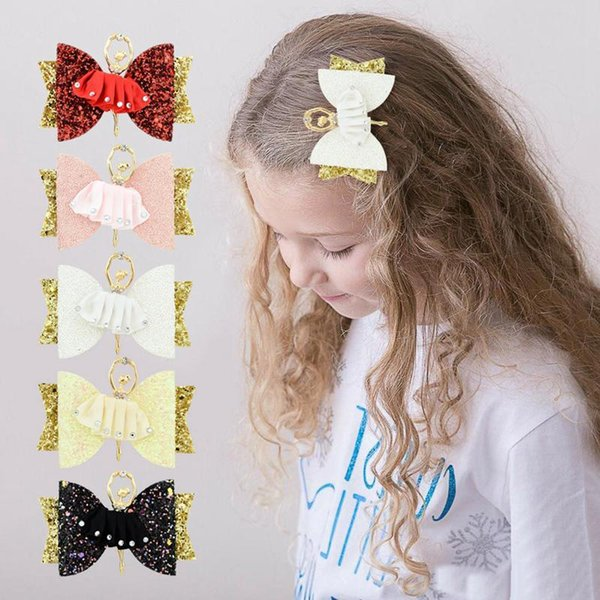 Ballet Girl Hair Clips Kids character Sweet Barrettes with diamond Children boutique bowknot Hair Ornaments 5Colors