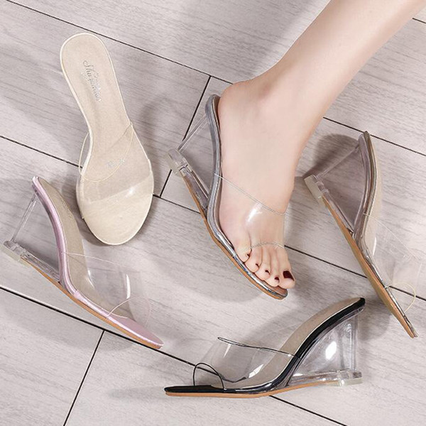 Summer Sexy Women Sandals One Word Buckle Simple Wedge With Sandals Transparent With High Heels Peep Toe Sandals Party Wedding Shoes