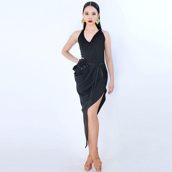 Slim Latin Dress For Women Black Sleeveless Cha Cha Rumba Salsa Samba Tango Practice Dance Wear Ballroom Training Clothes DC1683