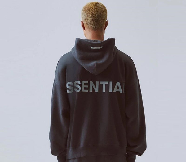 Il timore di Dio Essentials riflettente nero con cappuccio oversize con cappuccio Uomini Kanye West Streetwear FOG Hip Hop Felpa con cappuccio Pullover NCI0905