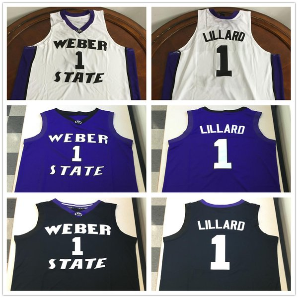 Weber State Wildcats College Damian Lillard # 1 bianco nero viola retrò maglia da basket uomo cucita personalizzato qualsiasi numero nome maglie