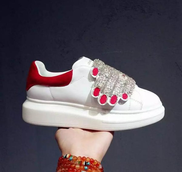 Rhinestone Palm Sneakers Plateforme Chaussures Femmes Creepers Chaussures Lady formateurs Appartements Blanc cuir Véritable Casual Voyage mac