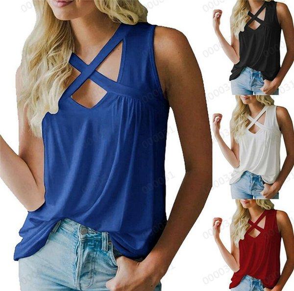 Yaz Kolsuz Kadın Tişörtleri Bayanlar Gevşek Hollow Out Yelek Seksi V Boyun Çapraz Moda Yeni Varış Tops