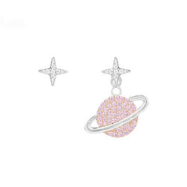 Europe And America Inlaid Zircon Planet Asymmetrical Earrings fashion Elegant Saturn Earrings